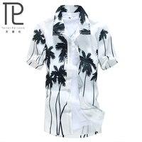 Summer 2015 Men Hawaii Shirt Beach Leisure Fashion Floral Shirt Coconut Palm Beach Printing Hawaiian Shirt