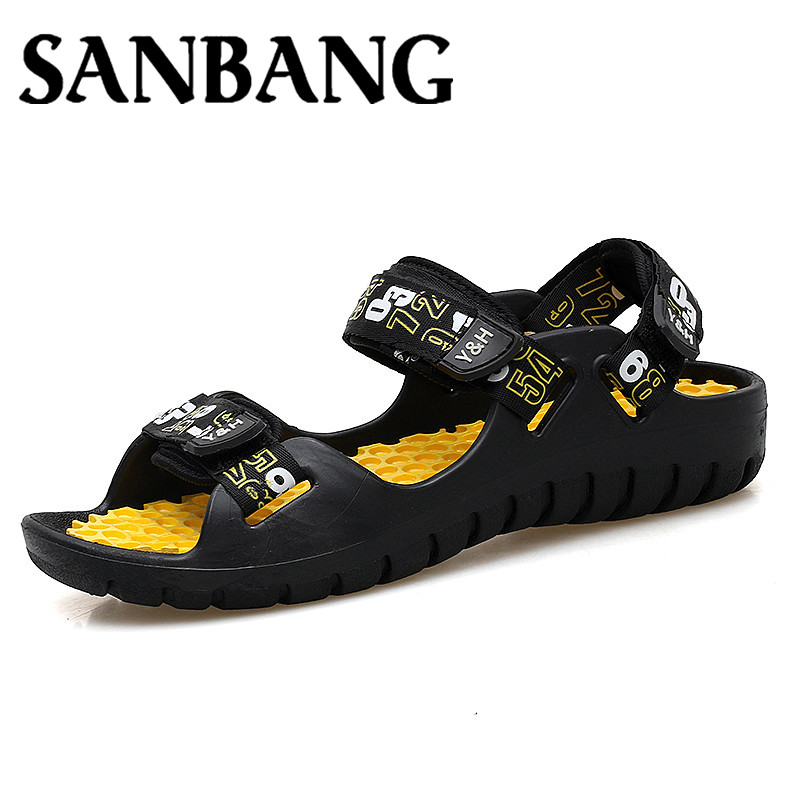 Fashion Summer Men Sandals Breathable Leather Comfortable Brand Men Beach Shoes Massage Leisure Cool Hook Loop Roma Shoes mx4