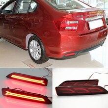 Автомобильный мигающий 2 шт. Многофункциональный светодиодный фонарь-отражатель задний противотуманный фонарь бампер светильник тормозной светильник для Honda City 2012 2013