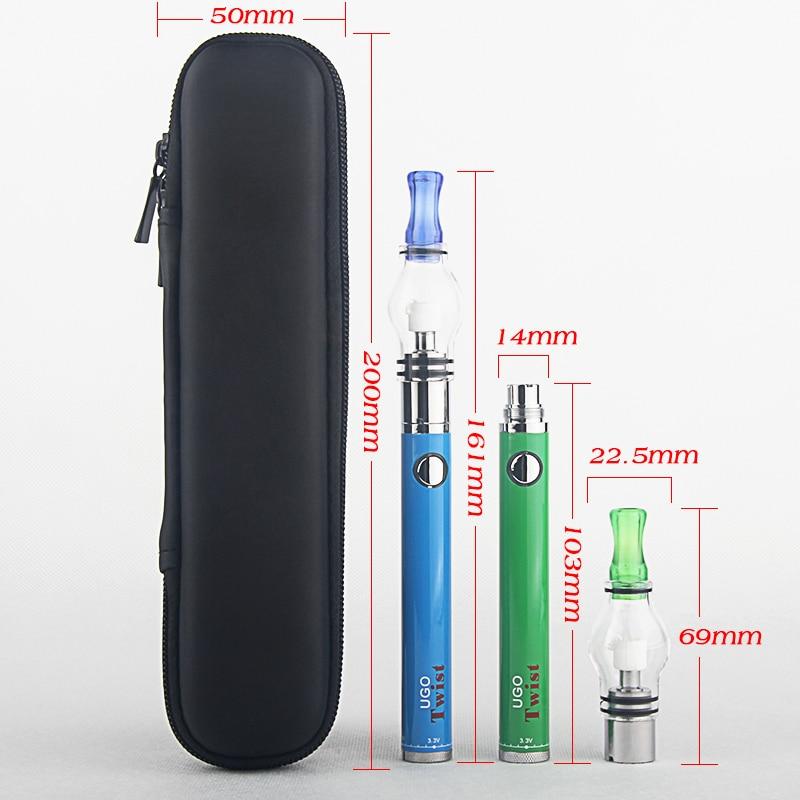 Kingfish UGO Twist Glass Globe dry herb vaporizer wax Vape 650/900mah twist bottom Battery Electronic cigarette Zipper Case kit