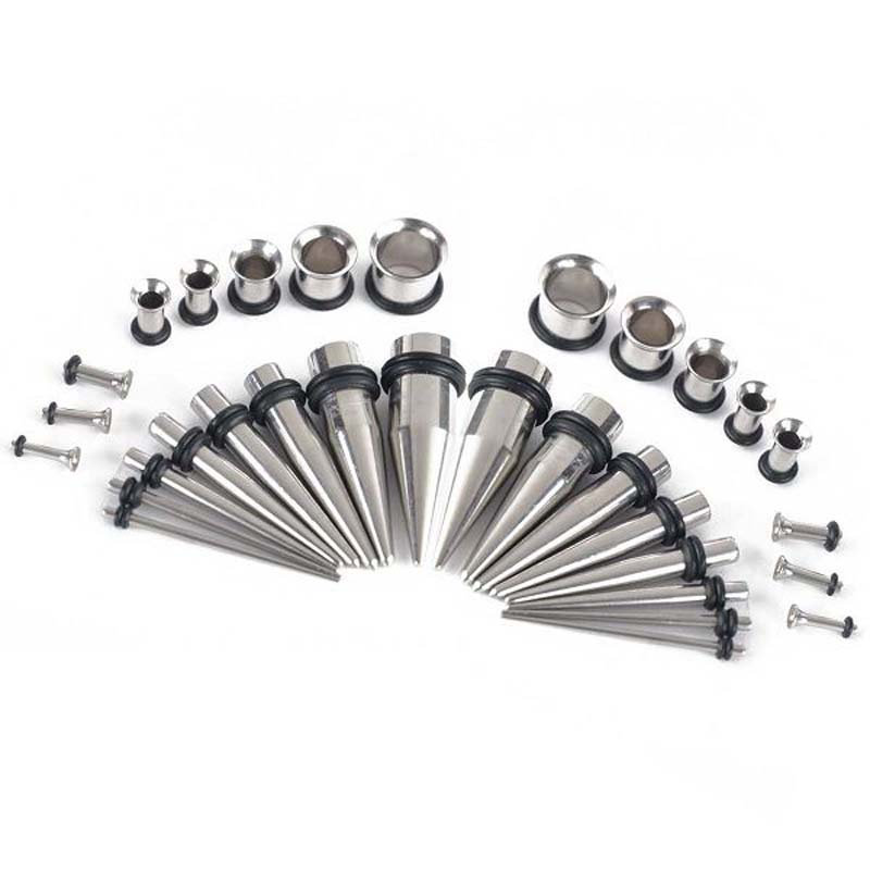 32Pcs Stainless Steel Acrylic 14G-00G Tapers & Plugs Ear Gauges ear taper Plugs Expander Stretching Kit Body Piercing Jewelry