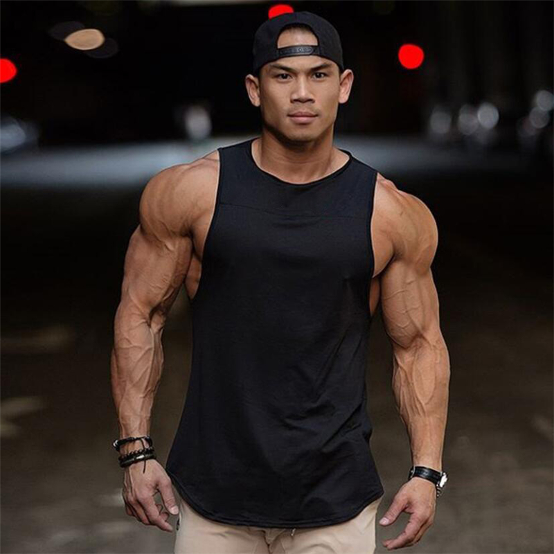 Brand Fitness Mens Gyms   Tank     Top   Plain Bodybuilding Vest Solid Stringer Undershirt Tanktop Workout Clothing Sleeveless Shirt