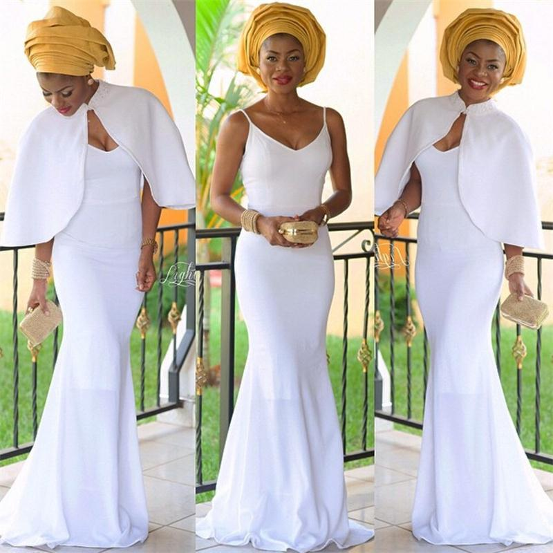 Robe de soiree 2017 Nigerian White Long Evening Dresses with Jacket African Lady Formal Evening Party Gowns vestido de noche