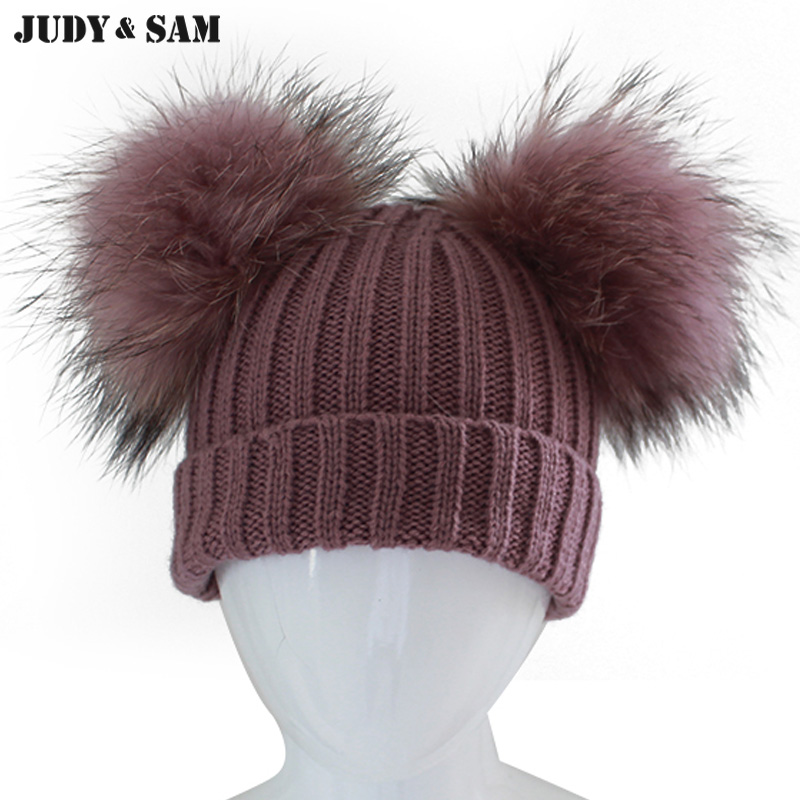 Winter Children Wool Blend Hat for Kids with Real Raccoon Fur Pom Poms Beanies Unisex Apparel