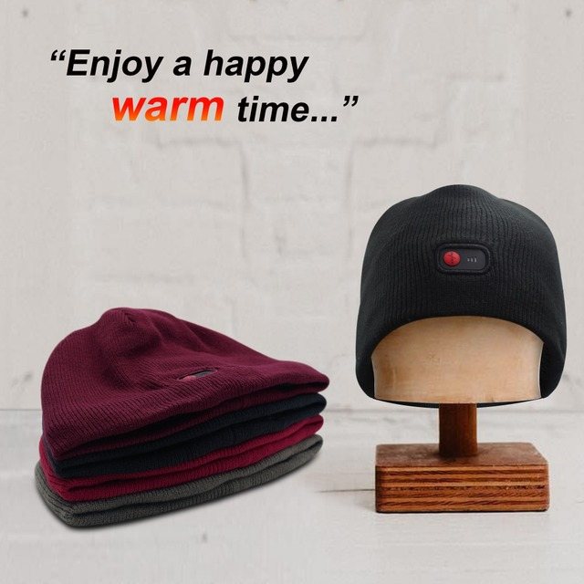 Red 7.4V battery heated Beanie Caps for Women Heated WarmStretchy Soft  Winter Knit Caps Headwear 5