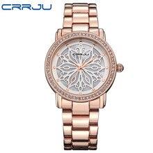 2017 Nueva Moda CRRJU Reloj de Las Mujeres Vestido de oro Rosa Relojes de Acero Lleno Analógico Cuarzo de Las Señoras Rhinestone relojes de Pulsera