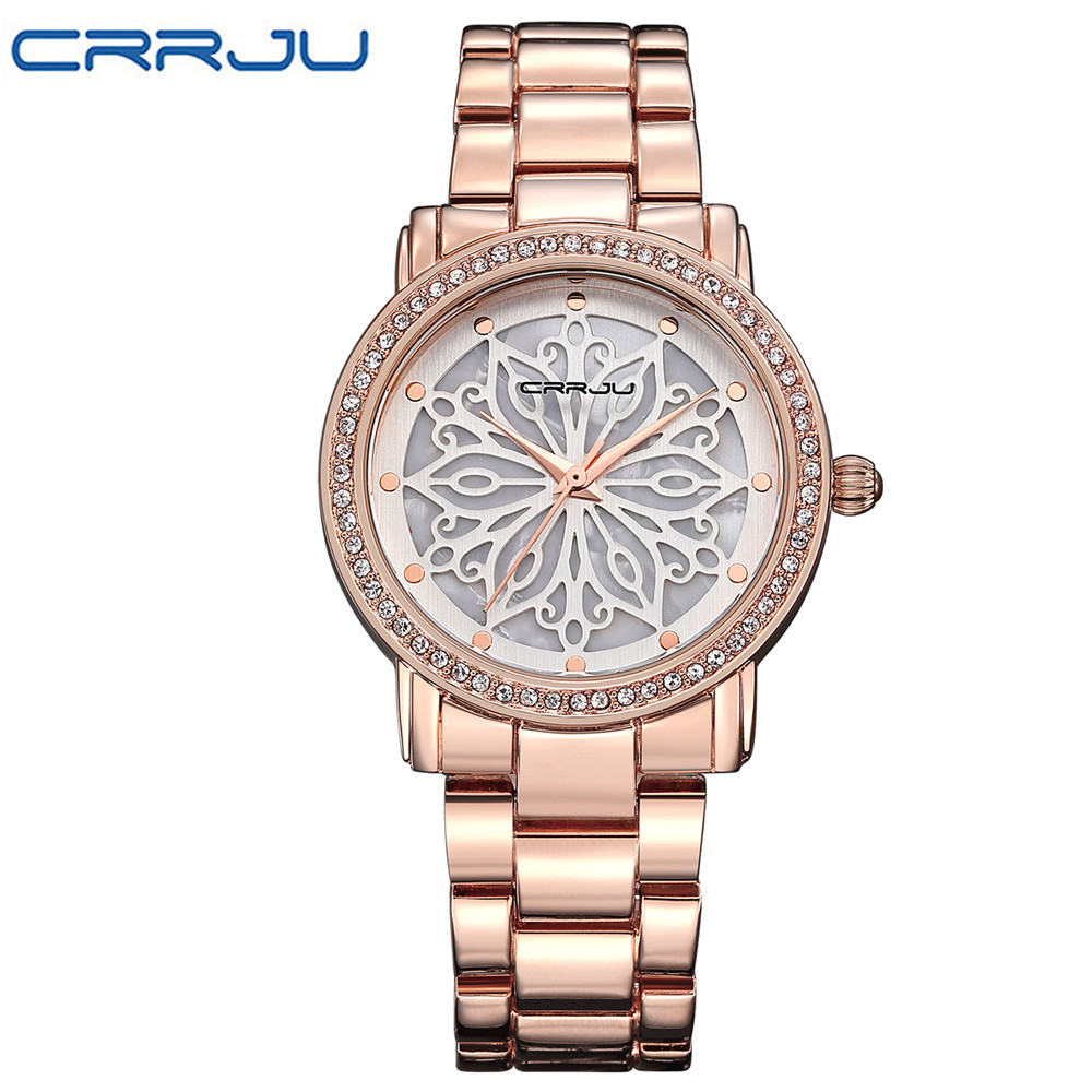 2017 New Fashion CRRJU Watch Women Dress Watches Rose gold Full Steel Analog Quartz Women Ladies Rhinestone Wrist watches