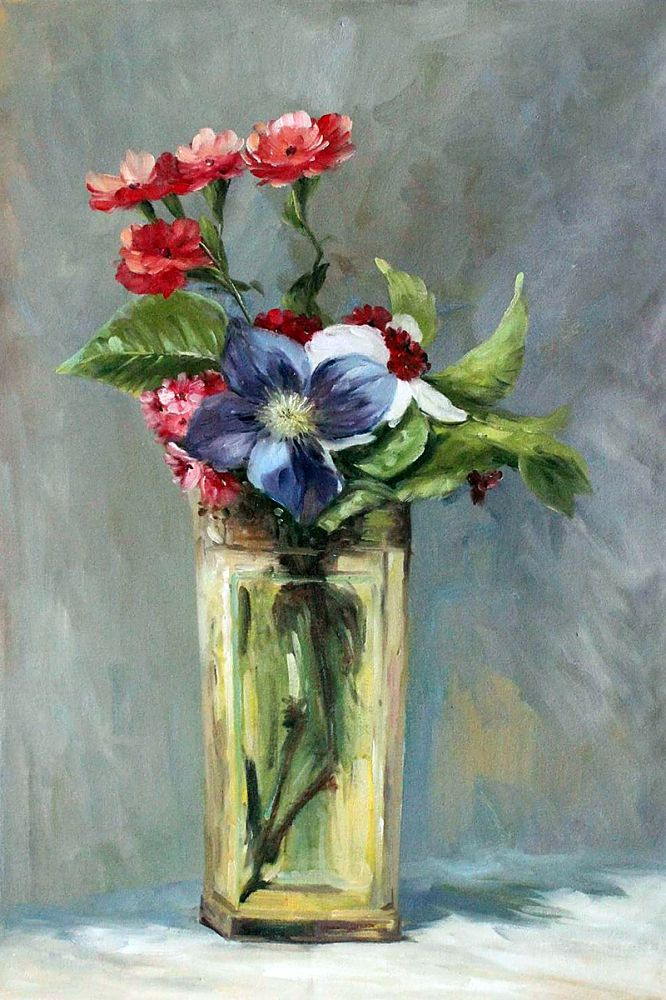 Wholesale Wall Pictures Carnations And Clematis In A Crystal Vase By Edouard Manet Painting For