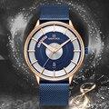 NAVIFORCE мужские синие часы  модные деловые наручные часы  водонепроницаемые спортивные кварцевые часы со стальным сетчатым ремешком  часы  му...