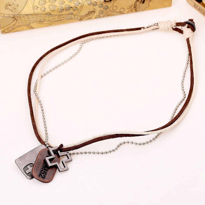 NIUYITID biżuteria męska sznurek z konopi w stylu vintage skórzany naszyjnik męska Colliers Colar Couro ręcznie robione biżuteria