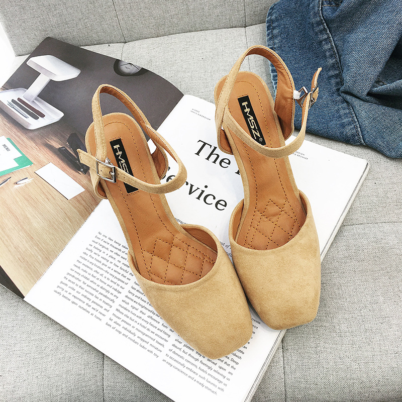 2018 autumn new fashion simple thick with solid color high heels women retro wild thick with buckle buckle casual shoes. 5