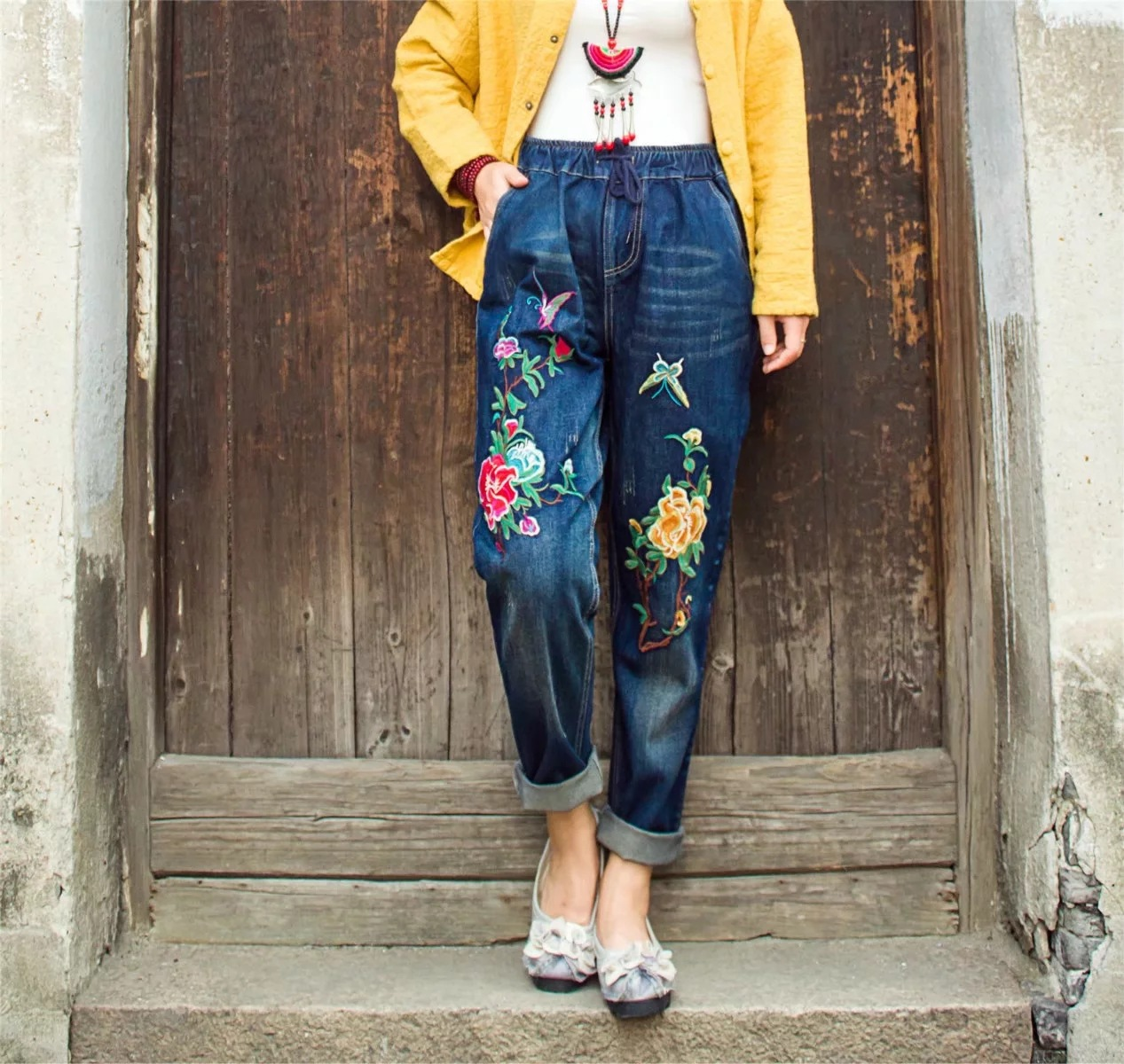 2020 spring new national style literature peony embroidery drawstring elastic waist casual jeans trousers female