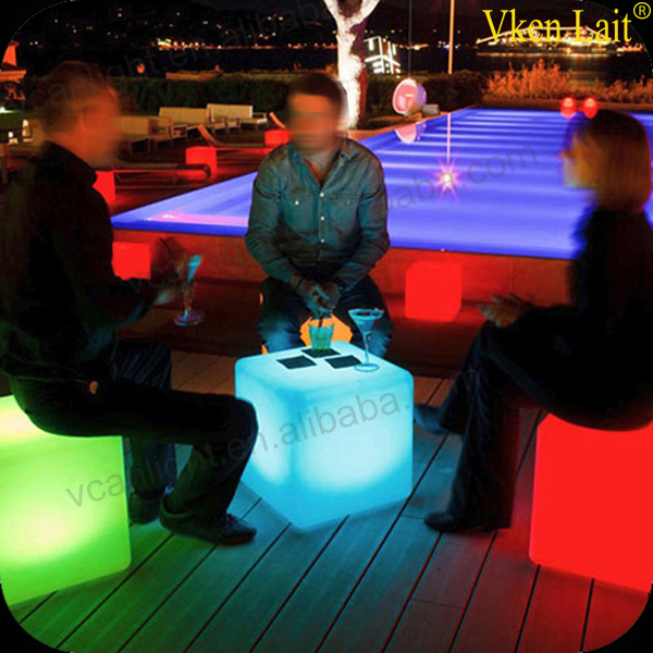 40*40cm LED Cube Chair Mood Garden Cube Sofa Luminous Colors LED Chair LED Furniture