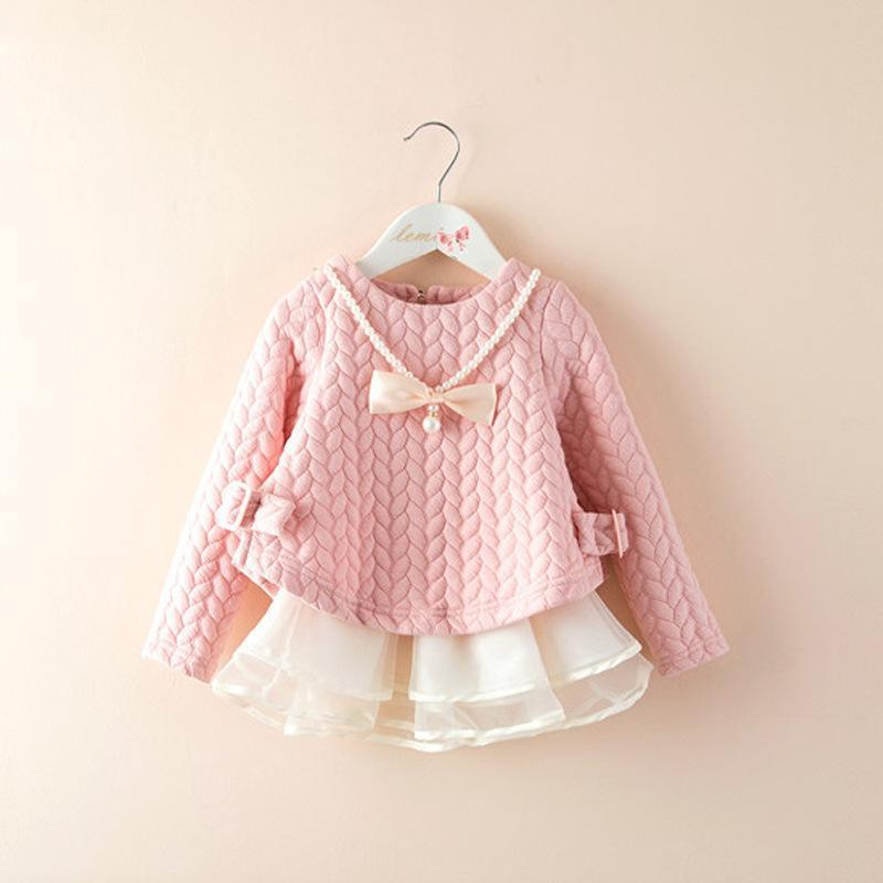 Fashion 2016 Spring Autumn New Girls Cotton Long-sleeved Knitting Dress Thickening Baby Girl Princess Dress Winter Kids Clothes girls clothes sets fashion europe the united states style princess suede tassel horse clip long sleeved dress kids clothes