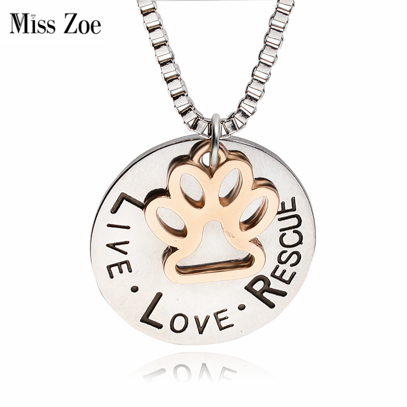 Fröken Zoe Lettering LIVE LOVE RESCUE Hålguld Paw Claw Hängsmycke Halsband Angel Pet Simple Smycken Special Gift Adopt Dog Lovers