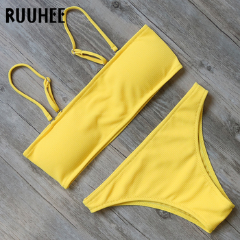 RUUHEE Rắn Bộ Bikini Đồ Bơi Áo Tắm Phụ Nữ Mặc Bikini Brazil Thiết Lập Băng Tắm Phù Hợp Với Nữ Beachwear 2018 Áo Tắm Với Pad