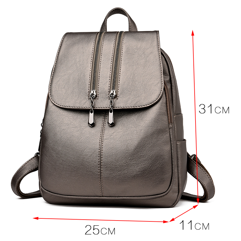 Casual Double Zipper Women Backpack Large Capacity School Bag For Girl Brand Leather Shoulder Bag 2018 Lady Bag Travel Backpack
