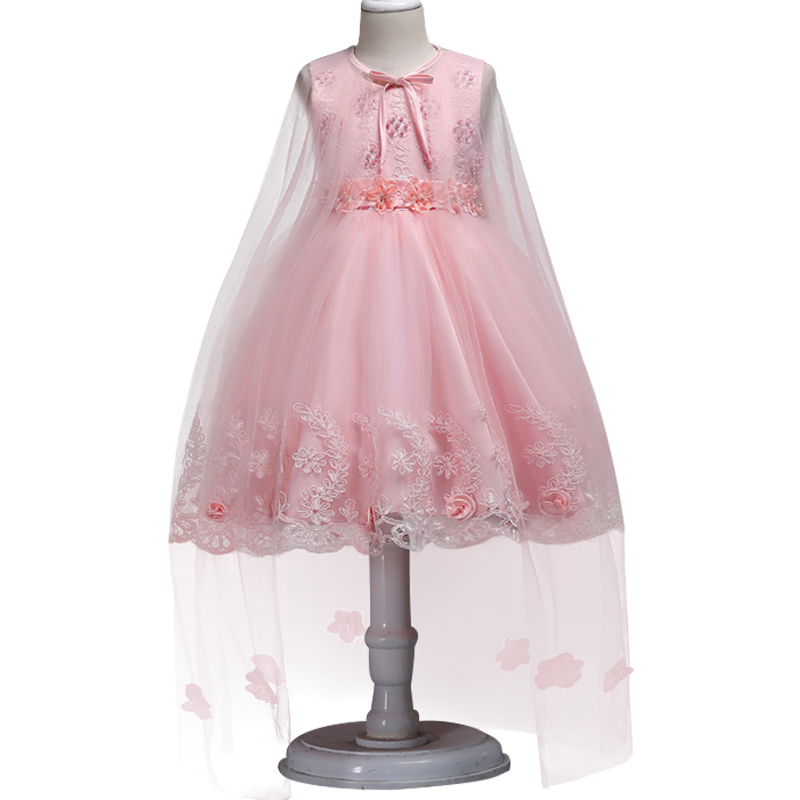 Kids Dress Girls Elegant Wedding pearl Flower Girl Dress Pageant Formal Sleeveless Tulle Princess Party Girl clothes 3- 12y