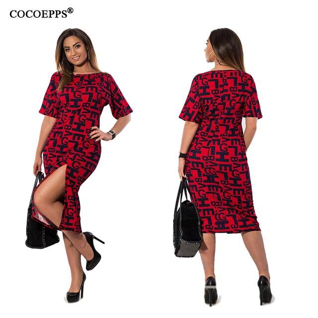 Cocoepps Лето 2017 г. 4XL 5XL 6XL плюс Размеры женщин Вечеринка деловая модельная одежда элегантный письмо печати большие Размеры платья