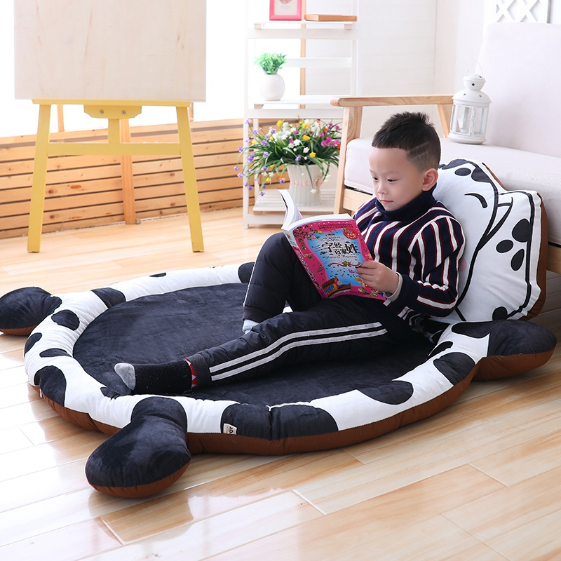 A,Cartoon kids Mat Tatami Lazy Sofa Cushion Floor Bed baby Game Plush Crawling Mat with Removable PP Cotton Filling 145*110*3cm