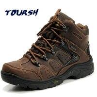 TOURSH Genuine Leather Hiking Boots Outdoor Sports Hiking Shoes Men Mountain Sneakers Men Trekking Shoes Men