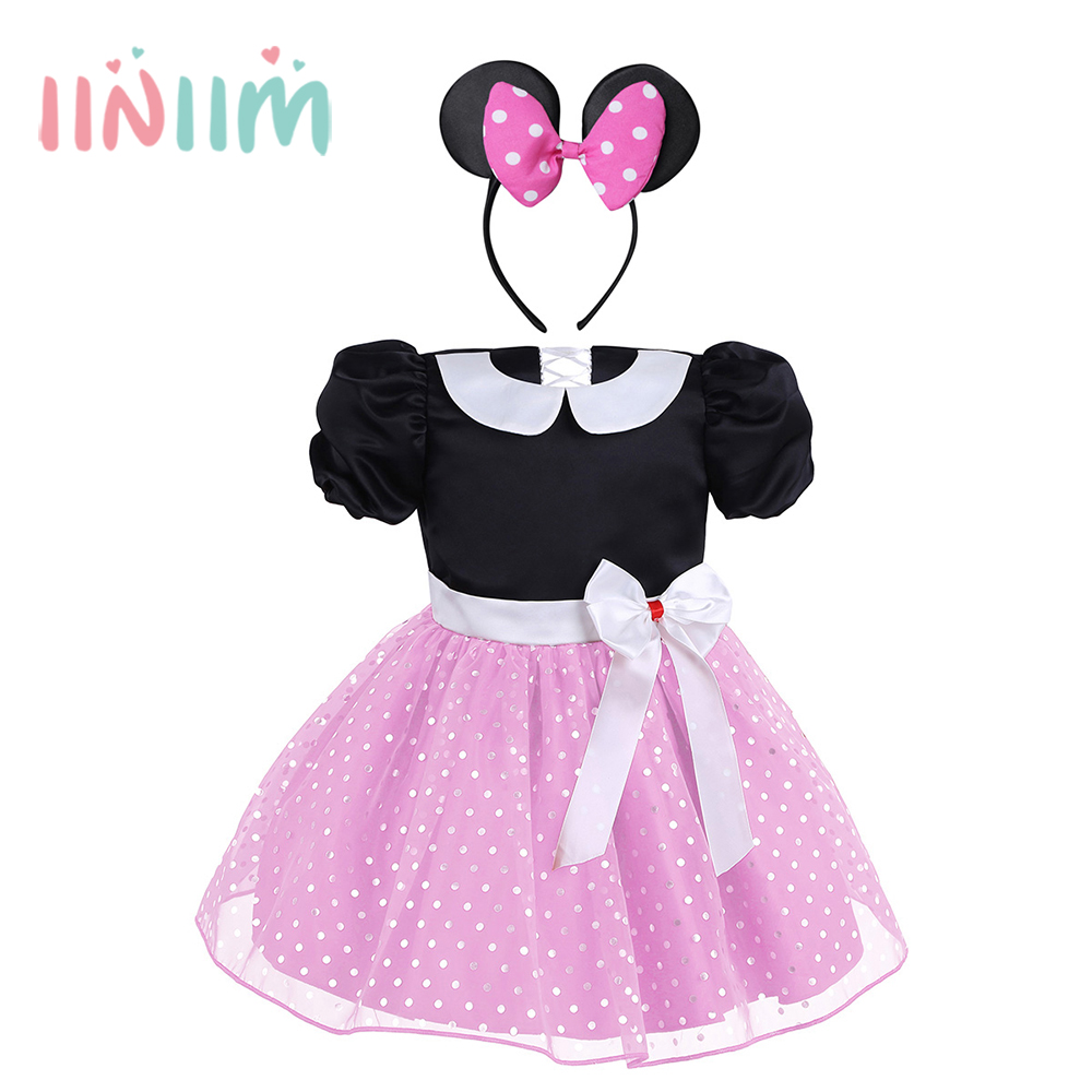 2017 Hot Fashion Infantil Baby Girls Princess Dresses Polka Dots Halloween Costume Cosplay Christmas Party Dress with Hair Hoop