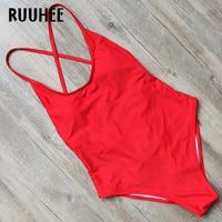 RUUHEE 2017 Swimwear Women One Piece Swimsuit Bodysuit Bathing Suit Monokini Sexy Cross Strap Swimming Suit