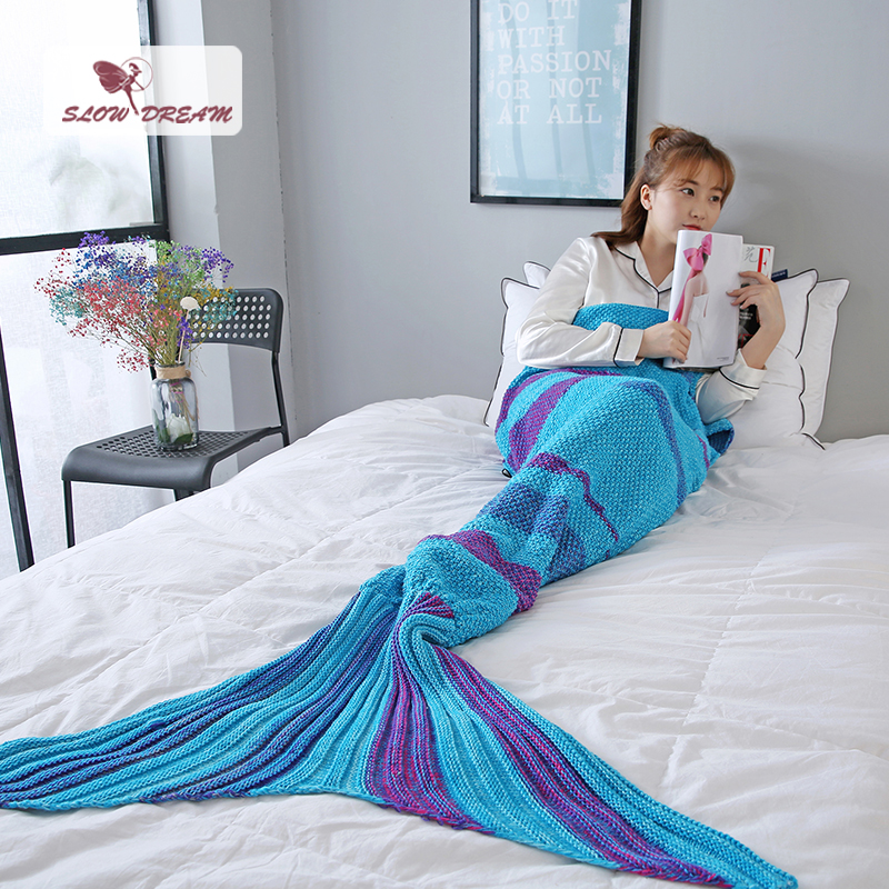 Slowdream Mermaid Tail Blanket Knitted Throw Crochet For Adult Child Kids Best Birthday Christmas Gift Handmade Sleeping Bag in Blankets from Home Garden