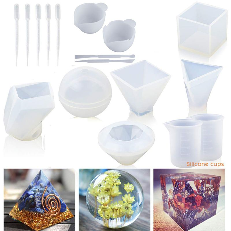 1 Set Large Clear DIY Silicone Molds For Resin, Soap, Wax, Cube/Pyramid/Sphere/Diamond/Stone/Resin Mold, Etc Epoxy Resin Mold
