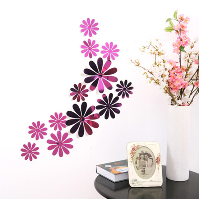 3D Flower Shape Decorative Mirror Stickers Set