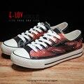 E-LOV D2 Картина Конструкции Ручной Росписью Холст Обувь Персонализированные Взрослых Повседневная Обувь Милые Туфли На Платформе