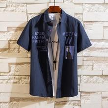 Fashion Mens Shirts Trends Printing Man Shirts Turn-Down Collar Men Shirt Short Sleeve
