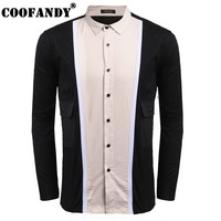 COOFANDY 2017 Stylish Male Wear Men Shirts Men Casual Shirt Collar Long Sleeve Patchwork Pocket Button
