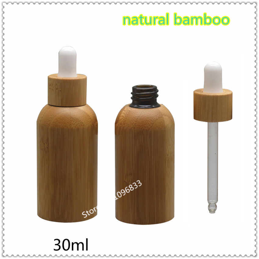 2Pcs/Lot  Bamboo Refillable Glass Bottles With Dropper Essence Oil Lotion Bottle with Dropper Special Bottle Botella 30ml