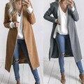 Women Winter Jacket Coat Elegant Women Large Lapel Long Sleeve Woolen Coat Fashion Casual Maxi Long Coat Robe Outerwear Casacos