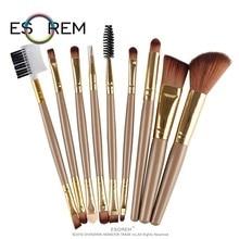 ESOREM 9 Pcs Professional Makeup Brushes Set Soft Brush Blending Sponge Eyeshadow Powder Brochas Maquillaje 5320