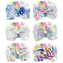 8 Cartoon Large Hair Bow With Alligator Clip Girl Bowknot Rainbow Hairbows Kids Fashion Accessories Gifts For