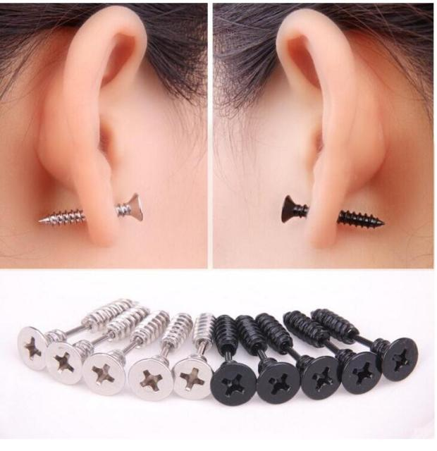 2pcs Lot Punk Style Stainless Steel 5 Colors Stud Earrings Men S Ear Jewelry Rock Gothic Uni Piercing Earring
