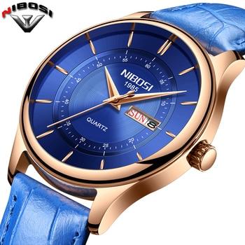 Relogio Masculino NIBOSI Mens Watches Top Luxury Watch Waterproof Fashion Sport Genuine Leather Erkek Kol Saat Mens Wristwatch