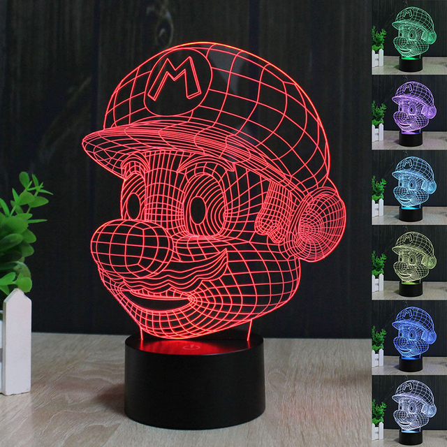 HY No.1-15 Remote Control 7 Colors Changing Night Lights 3D LED Desk Table Lamp Home Decoration For Gifts