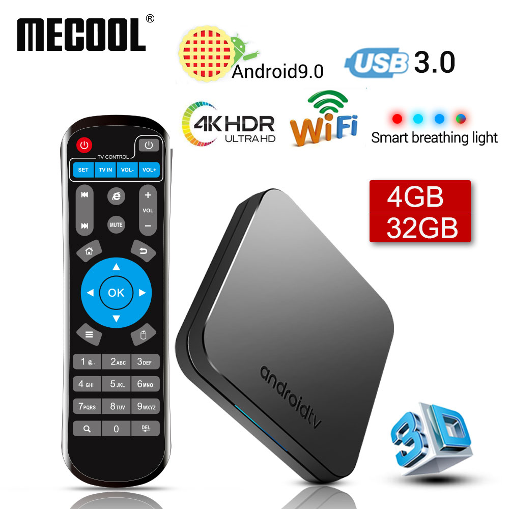 Nuevo 2019 MECOOL KM9 Android 9,0 TV Box Amlogic S905X2 Quad Core 4G DDR4 32G ROM 4 K android 9 Smart TV Box USB 3,0 reproductor de medios