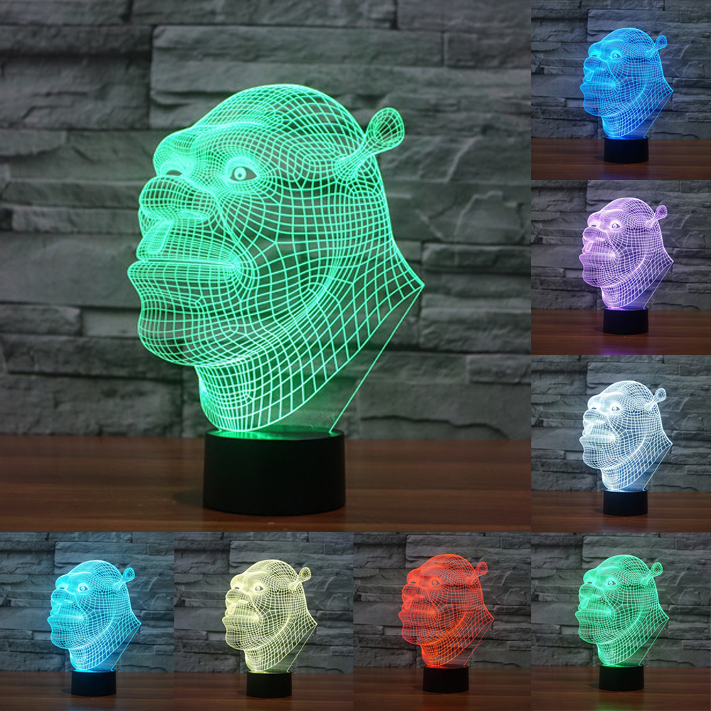 Shrek Lamp 3D Lamp LED 7 Colors Night Lights Touch USB Table NightLights Holiday acrylic Light