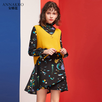 Вязаный свитер жилет с Двухсекционным платьем корейский женский студенческий темперамент вязаное платье ANNAKRO