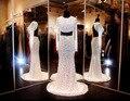 Luxo cristal de duas peças prom 2017 sereia mangas compridas evening dress topo colheita sem encosto imagem real vestido para festa