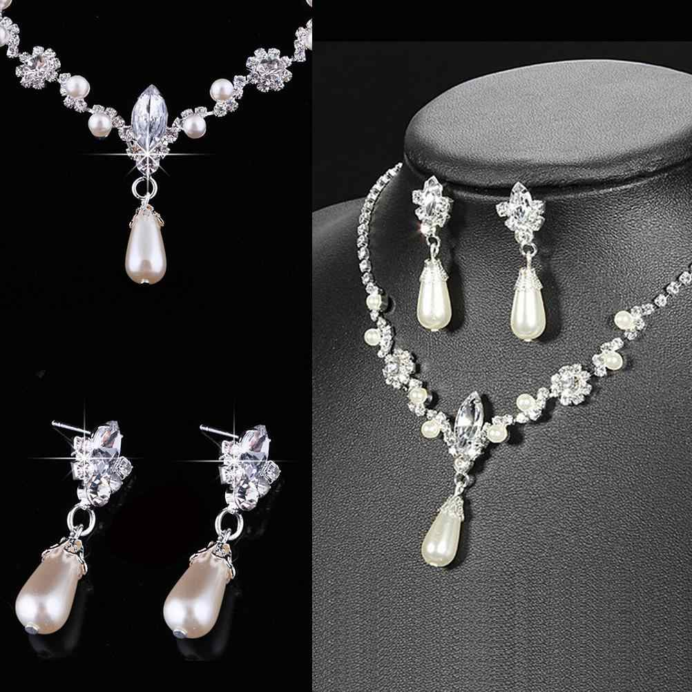 Necklace Earrings Jewelry Sets New Women Fashion Silver Plated Simulated Pearl Wedding Party Jewelry Sets For Women