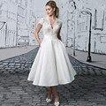 2017 Primavera Verano vestidos de Novia Robe de Mariage Una línea Princesa de longitud de Té de Manga Corta Barato Jardín de La Boda vestidos de Novia