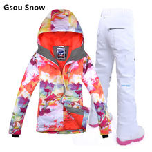 Гсоу снег женские лыжный костюм женский сноуборд костюм зимний куртка снег брюки-таблас-де-сноуборд катание на лыжах лыжная одежда весте