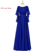 2017 Evening Dresses With Long Sleeve Chiffon Pleat Formal Gowns For Wedding Party Dress Plus Size