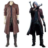 DMC 5 Cosplay Dante Costume DMC Jacket Coat Only Leather Outfit for Adult Halloween Costume Men Women