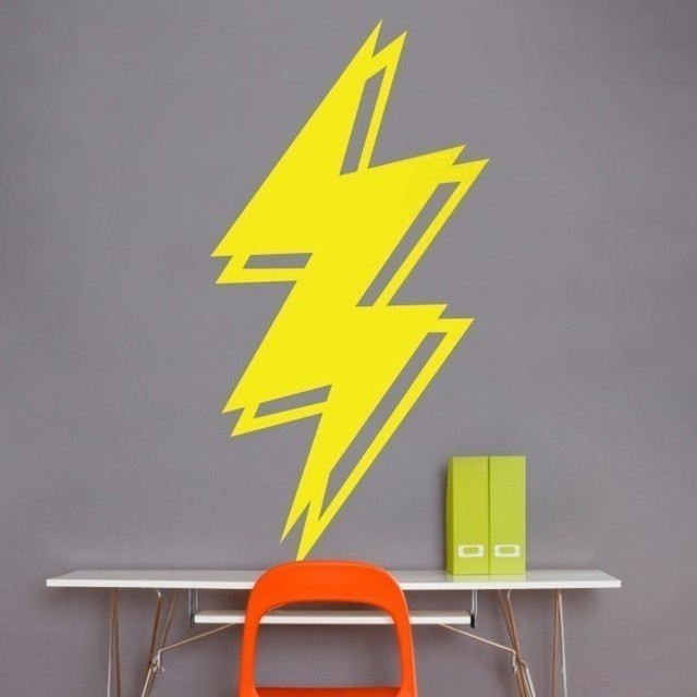 Striking Lightning Bolt Silhouette Wall Decals For Living Room ...